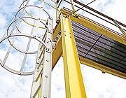 Fixed vertical ladder access ladders