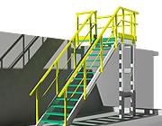 Constructie met profielen en traptreden in 3D